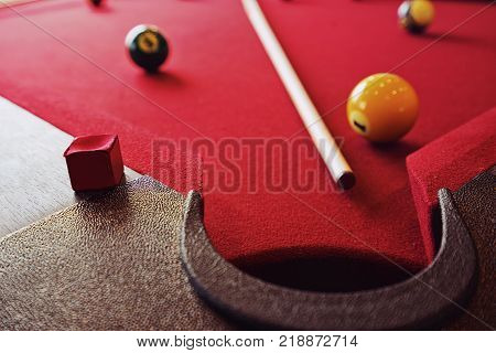 Billiard table with Billiard ball and racked