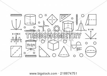 Trigonometry vector horizontal banner or illustration in thin line style on white background
