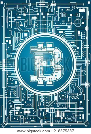Bitcoin digital currency background. Futuristic chipset technology network concept. Vector blue vertical illustration.
