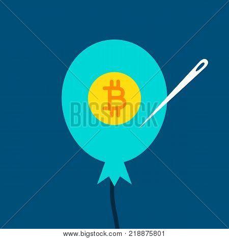 Bitcoin Balloon Concept. Vector Illustration of Financial Crush.