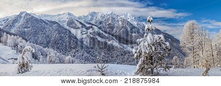Winter fairy tale in the mountain range. Sochi, Russia