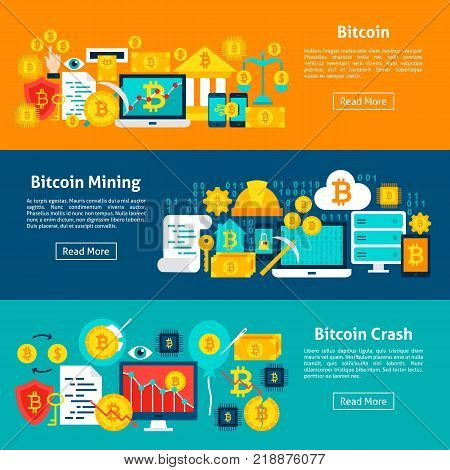 Bitcoin Horizontal Banners. Vector Illustration for Website Header. Crypto currency Items Flat Design.
