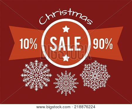 Christmas total sale from 10 to 90 promo poster with white snowflakes vector illustration advertising promotional banner info discounts in red colors