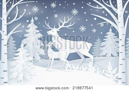 Deer walking in forest in winter period, snowflakes falling down on ground, trees of different type, wildlife isolated on vector illustration
