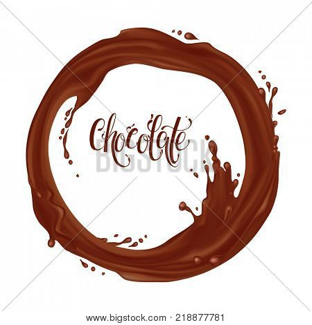 Chocolate flowing in a circle. Realistic falling drops and splash isolated on transparent background. Chocolate, Coffee, hot chocolate, cocktail. Element for your design. Raster illustration.