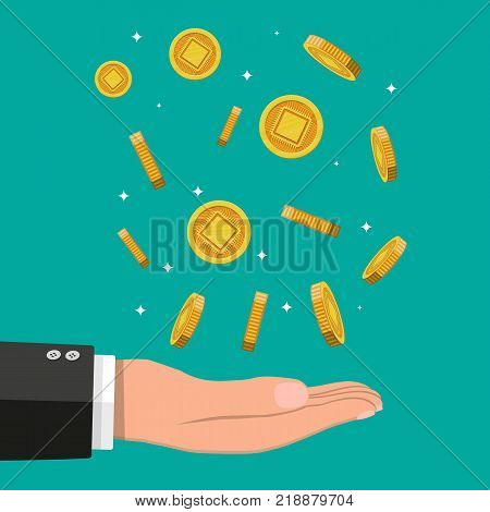 Rain of golden coin with computer chip and hand. Money and finance. Digital currency. Virtual money, cryptocurrency and digital payment system. Vector illustration in flat style