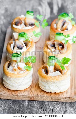 Vol-au-vents Puff Pastry Cases Filled With Mushrooms And Chicken Breast