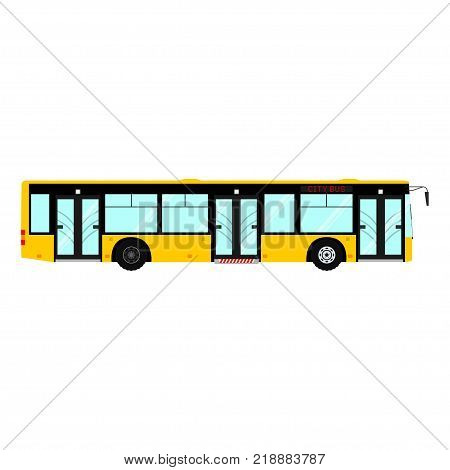 Passenger public modern urban transport: municipal bus. Side view city transport. Isolated on white background. Vector illustration.