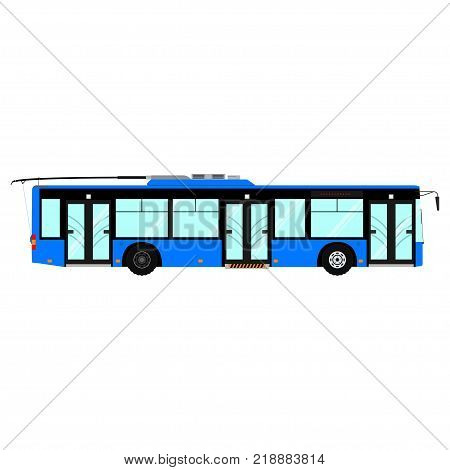 Passenger public modern urban transport: municipal trolleybus. Side view city transport. Isolated on white background. Vector illustration.