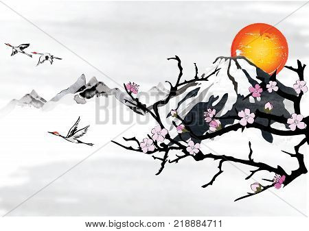 Background For Japanese / Korean Greeting Cards With Stylized Mountains And Flying Crane Birds