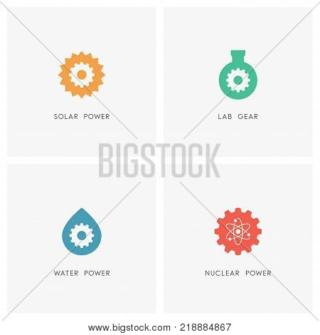 Energy source logo set. The sun, test tube, drop of water, atom and gear wheel or pinion symbol - solar, chemical, hydro and nuclear power, industry and ecology icons.