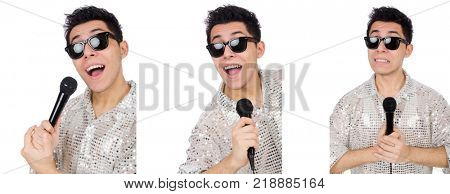 Man with mic isolated on white