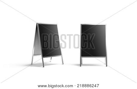 Blank black metallic outdoor stand mockup set isolated front and side view 3d rendering. Clear street signage board mock up. A-board with metal frame template.