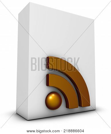 rss symbol and white box - 3d rendering