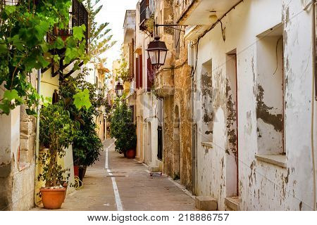 Rethymno Greece Crete. Walk around the old resort town Rethymno in Greece. Architecture and Mediterranean attractions on island Crete. Narrow touristic street in the tourist routes