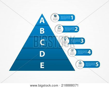 Modern Vector Illustration 3D. Pyramid Template Infographics With Two Elements, Levels. Contains Ico