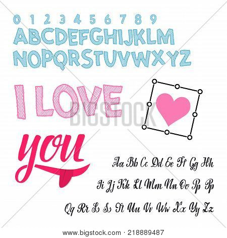 I love you - font. Vector alphabet. Hand Lettering script font. Typography abc for Designs: Logos, Packaging Design, Poster. ABC...
