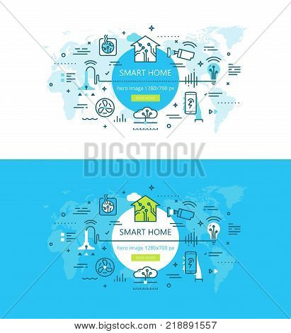 Vector illustration of house automation devices on blue and white backgrounds. Home automation technology banner set.