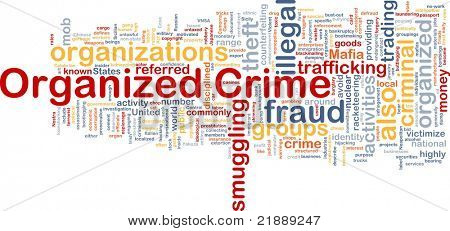 Background concept wordcloud illustration of organized crime