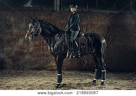 Image of happy female sitting on purebred horse outdoors