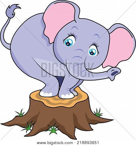 Cartoon cute baby elephant terrified on tree stump. Vector illustration for children's books, posters, clothes, alphabet cards.