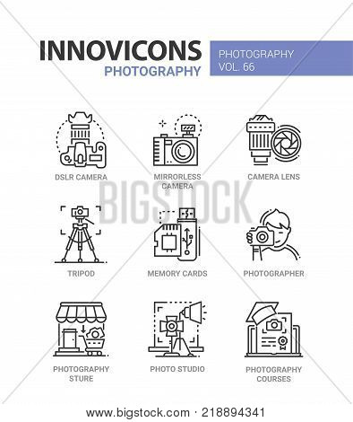 Photography - line design icons set with description. DSLR and mirrorless camera, lens, tripod, memory cards, photographer, store, photo studio, courses. Collection of high quality web elements