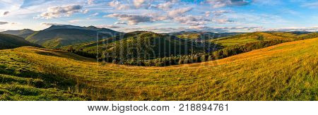 agricultural field in mountainous countryside. old fashioned rural economy concept. gorgeous landscape of Carpathians at sunset with cloudy sky