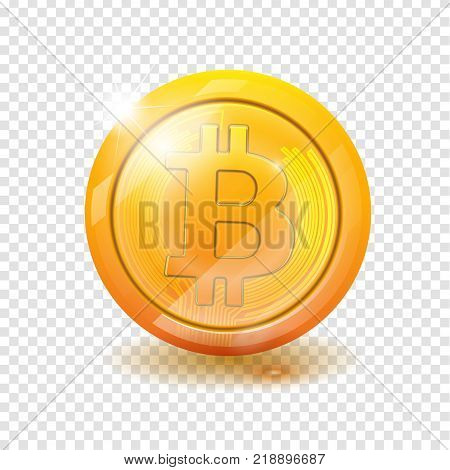 Bitcoin. Physical bit coin. Digital currency. Cryptocurrency. Golden coin with bitcoin symbol isolated on transparent background. vector illustration EPS 10