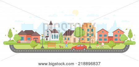 Residential area - modern flat design style vector illustration on white background. Lovely housing complex with small buildings, trees, pedestrian zone with people walking, car on the road, lanterns, church