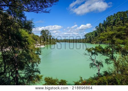 green lake in Waiotapu geothermal area Rotorua New Zealand