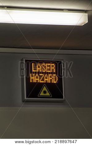 View of laser hazard sign in a lab