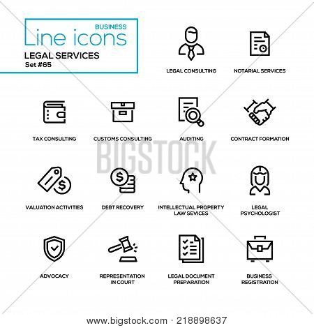 Legal services - line design icons set. Tax, customs consulting, notarial, auditing, contract formation, valuation activities, debt recovery, intellectual property law, psychologist, advocacy, etc