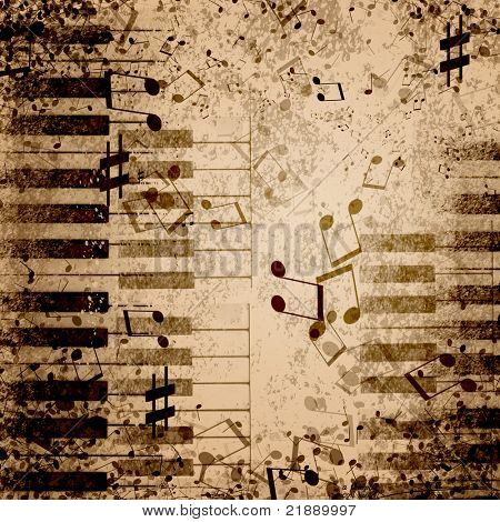 music notes on old paper sheet background poster