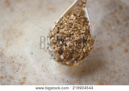 Process Of Making Home Beer From Malt. Kraft Beer From Barley And Dark Malt. Malt Surface