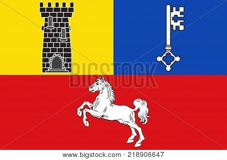 Flag of Stade is a district in Lower Saxony Germany. Vector illustration