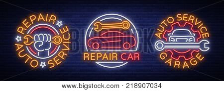 Car service repairs a set of vector logos, a neon sign emblem. Vector illustration, car repair, shiny signboard for garage for auto repair. Nightly bright signboard ad for your projects.