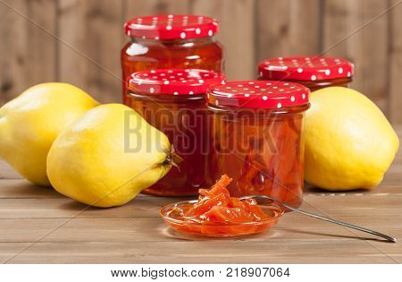 Homemade Quince Jam Preserve. Ripe Quince Fruits