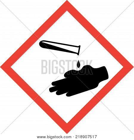 Hazard sign with corrosive substances symbol on white background