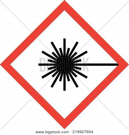 Hazard sign with laser beam symbol on white background