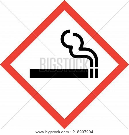 Hazard sign with smoking sign on white background