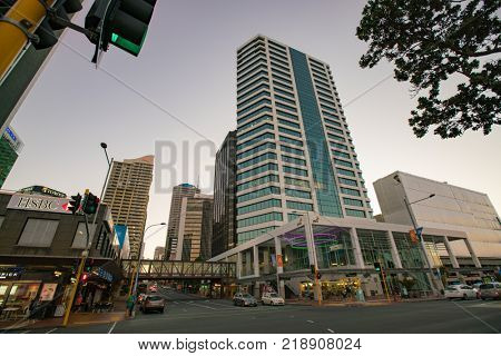Auckland, New Zealand - APRIL, 2016: Shopping centers and skyscrapers in the city center Auckland