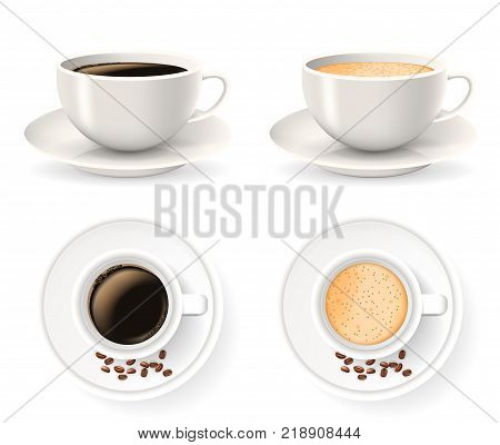 Top and front views of cups on saucers with coffee beans. Objects isolated on the white background. Americano, latte or cappuccino coffee.