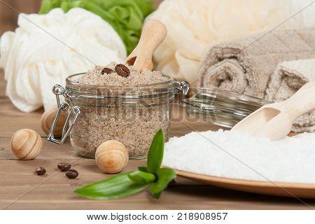 Handmade Scrub With Coffee, Lemon And Argan Oil. Dead Sea Bath Salt. Towels, Spa Set