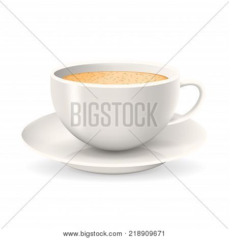 Realistic cup of coffee on saucer. Object isolated on the white background. Cappuccino or latte coffee.