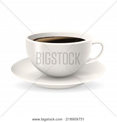 Cup of coffee on saucer. Element isolated on the white background. Americano coffee.