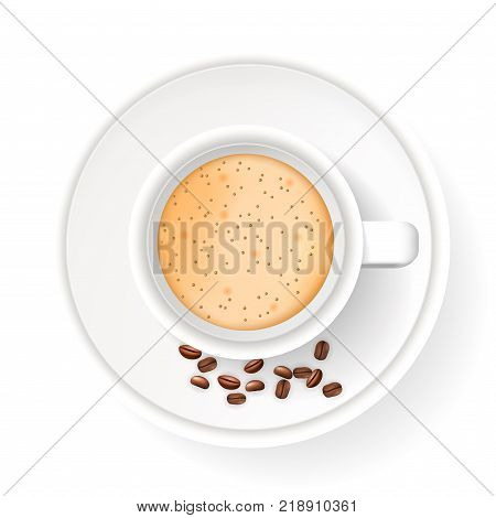 Top view of realistic cup on saucer with coffee beans. Object isolated on the white background. Cappuccino or latte coffee.