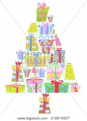 isolated cartoon gift boxes Christmas tree on white background