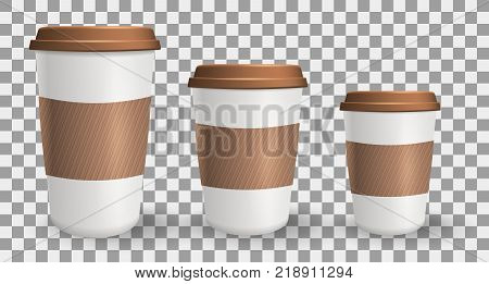Set of realistic to go and takeaway paper coffee cups in different sizes. Objects on the transparent background. Collection of cups with lids and protective ripple sleeves.
