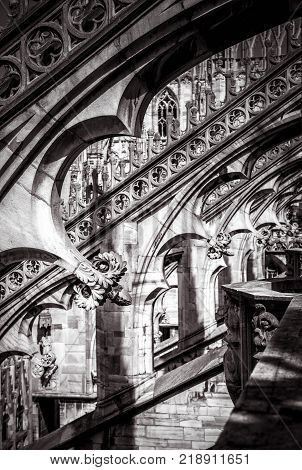 Decoration of Milan Cathedral roof in Milan, Italy. Milan Duomo (Duomo di Milano) is the largest church in Italy and the fifth largest in the world.