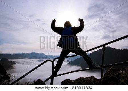 The man reached the summit achieved success concept